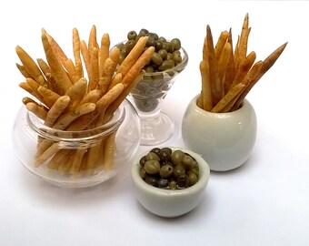 Dolls House Food: Miniature Food - Handmade, Realistic;  Italian Handmade Breadsticks & Olives.    OOAK Luxury