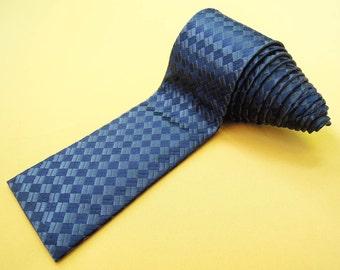 Salvatore Ferragamo Tie Woven Silk Plaid Checkered Theme Pattern Gray Vintage Designer Square Necktie Made In Italy