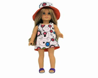 Pop Art Reversible Hat and Dress for 18 Inch Dolls such as American Girl, Our Generation, Madam Alexander