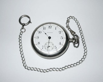 1907 Waltham Railroad Pocket Watch Locomotive Stainless Case Back 15 Jewel With Watch Fob Chain