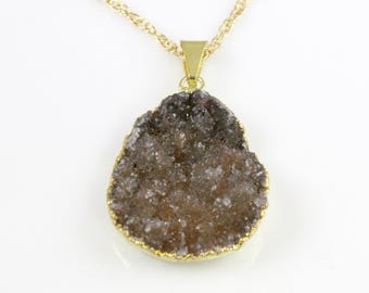Druzy  Pendant Necklace 14 karat Gold Filled Chain