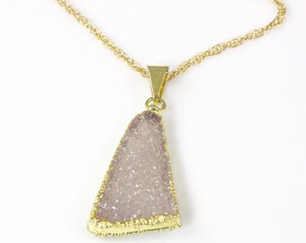 Druzy Pendant Necklace on a 16 inch 14 karat Gold Filled Chain