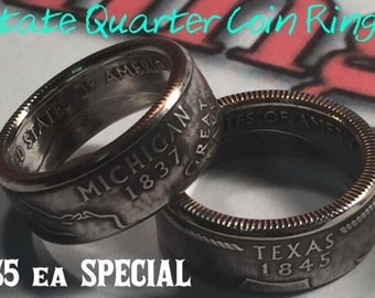 Coin Ring United States of America State Quarter Coin Rings Powder Coated Any Size or State worldwide shipping