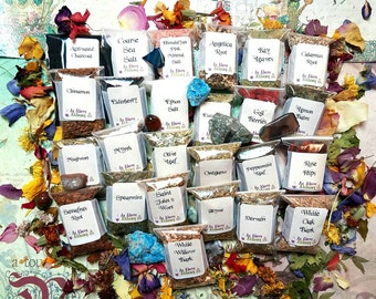 DIY Healing Set of Herbs - DIY Incense, Potion, Spell - Herbs & Resins - You Choose Number - Witchcraft Supplies