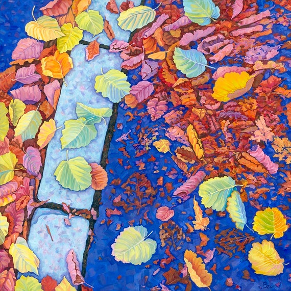Breakers, original painting in acrylic of autumn leaves