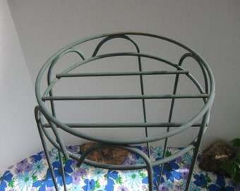 Vintage Metal Hairpin Plant Stand With High Rim  Green