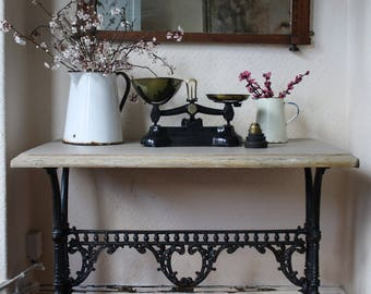 Beautiful Vintage Cast Iron Table With Painted Top in Mousse Grey