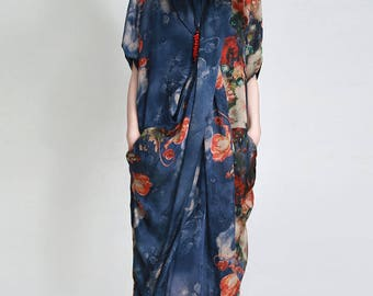 women long dress/women silk dress/women vintage dress/women fashion dress/XF04D25519
