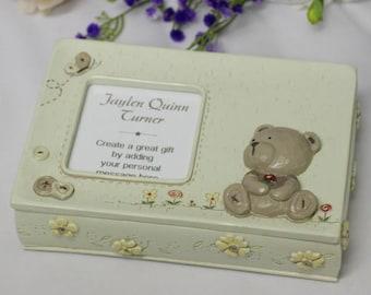 Personalised Baby Teddy Keepsake Trinket Box