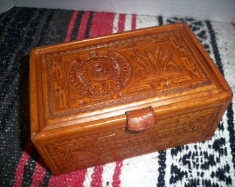 Tooled leather jewelry box, Aztec style leather jewelry box,Western style leather box