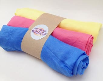 "Play Silks - Vibrant Set (30""x 30"")  of 3 waldorf play silk, rainbow silk, large playsilk"
