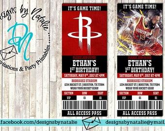 Houston Rockets Basketball Invitation