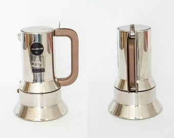 Alessi 9090 Vintage coffee maker in 18/10 stainless steel deisgned by Richard Sapper - Made in Italy - 6 cups