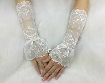 Bridal gloves, fingerless gloves, wedding gloves, arm warmers, lace gloves, ivory gloves, wedding cuffs, lace cuffs