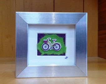 Wooden Bicycle in Silver Frame