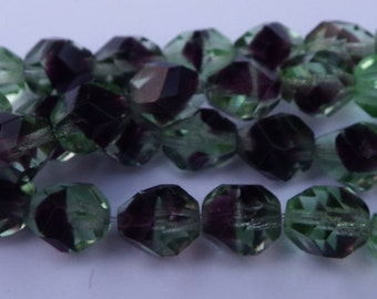 25 Czech Glass Faceted Round Burgundy and Green Transparent Fire Polish Beads /  8 MM / Glass Beads
