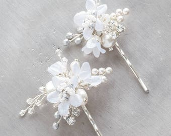 Silk Flower Hair Pins - Floral Wedding Hair Pins Set, Silver Pearls Crystals Headpiece, Bridal Short Hair Accessory