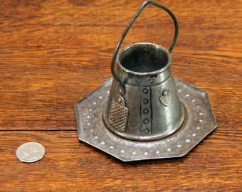 Antique / Vintage Metal Match Safe - Made in Germany - Nice Patina ~ Fits Tealight Candle - Hard to Find and So Cute!