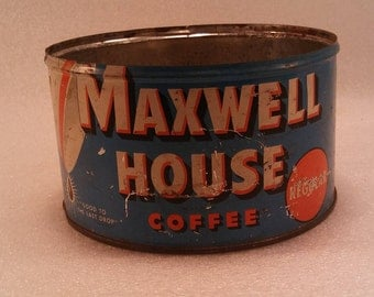 Maxwell House Coffee Tin, Vintage 1 lb metal can  Good to Last Drop Advertising Tin Can, collectible, steampunk, upcycle