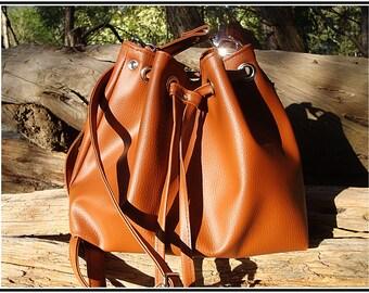 Small bucket bag brown leather bucket bag