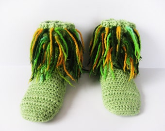 Women slippers boots, Crochet slippers, Winter gift, Wool slippers, Slippers shoes, Female slippers, green slippers, Woman gift