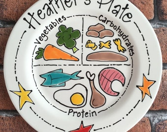 Personalised Hand Painted Bariatric Gastric Band Portion Control Plate COMPLETELY FOODSAFE