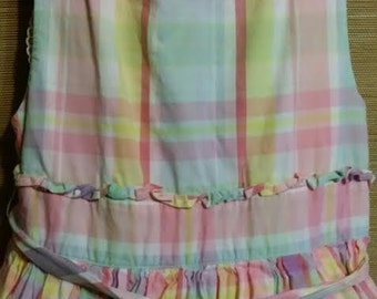 Cutest little girl pink and blue plaid, vintage dress of quality.
