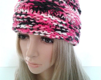 Beanie beret Hat striped Hat pink multicolor woman knitting handmade gift idea mother.