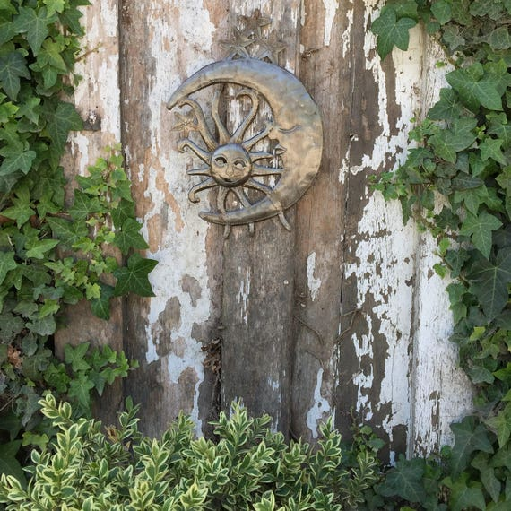 "Moon and Sun, Metal Wall art, Celestial Friends, Handmade in Haiti 9"" X 13"""