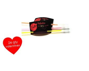24 Glow Stick Valentines Cards- Kids Mini Valentines Day Cards- Valentine You Light Up My World- Kids Class Valentines- Kids Valentine Cards