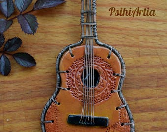 Polymer clay guitar Guitar pendant Acoustic guitar jewelry Guitar necklace Unisex jewelry Gift for musician Wire wrapped pendant Copper wire