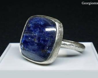 Dark Blue Kyanite Gemstone Ring, Sterling Silver 925 Ring, Natural Kyanite Ring, Size 9, Handmade in Greece, FREE SHIPPING