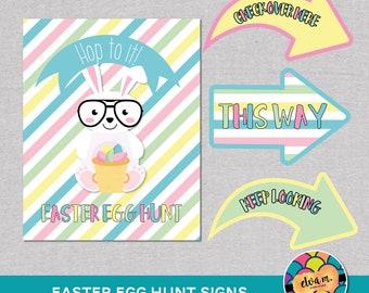 "Easter Bunny Easter Egg Hunt 8x10"" Party Sign and Hunt Signs. Easter Sign.  *DIGITAL DOWNLOAD*"