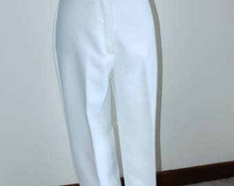 White Summer Pants by Barat, 1970s Trousers Size 13 14