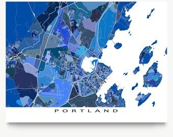 Portland Maine Etsy - Map maine usa