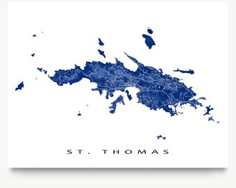 St Thomas Map Print, US Virgin Islands, Caribbean Island Art, USVI