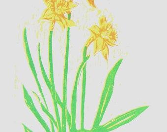 daffodils original woodblock print