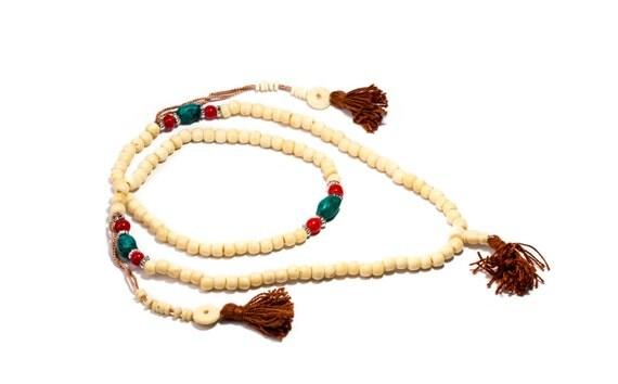 Mala Meditation Beads Yak Bone with Chupsi Counters 108 Mala beads Tribal Jewellery Prayer Beads Buddhist Free UK Delivery + Gift Bag M18