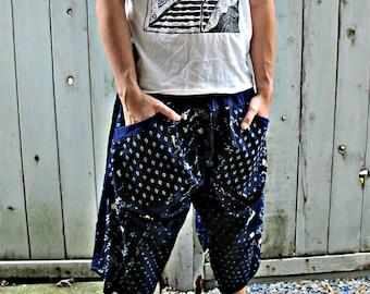 Indigo Hiragana Sashiko Elastic Waist Samurai Pants SM2F