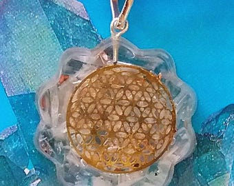 Stunning ORGONE SELENITE Crystal Pendant with Copper Flower of Life and a Hemp Chain, Orgonite