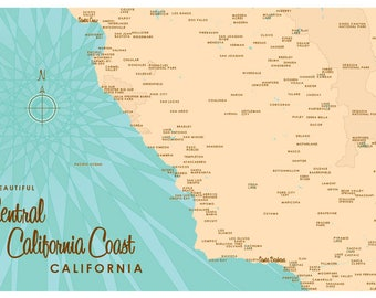 Central California Coast Map Print