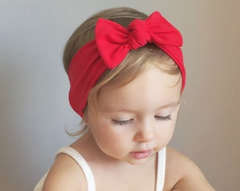 Red Baby Bow Headwrap - Headwrap Bow