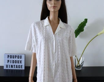 Chemisier vintage blanche broderie anglaise taille 42 - uK 14 - us 10 - oversize