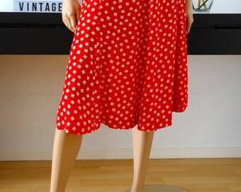 Jupe vintage rouge motifs blancs Made in France  taille 42 - uk 14 - us 10
