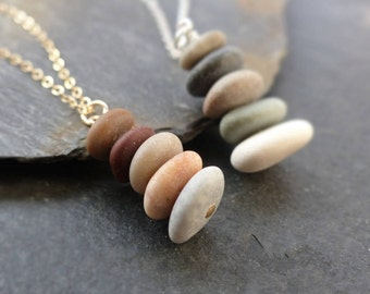 Beach stone necklace, sterling silver, gold, natural stone necklace, beach pebble pendant, cairn necklace, boho jewelry, nature jewelry