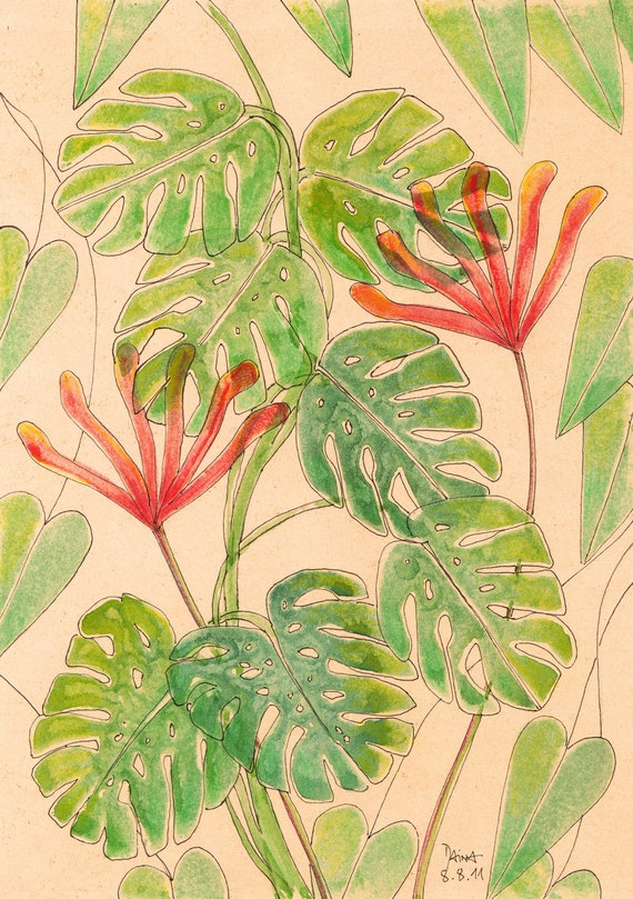 Philodendron And Red Blossoms - Potato Print With Watercolors - Unique