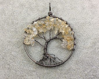 "2"" (50mm) Gunmetal Plated Copper Wire Wrapped Tree of Life Focal Pendant with Yellow Citrine Chip Beads - Sold Individually/Random"