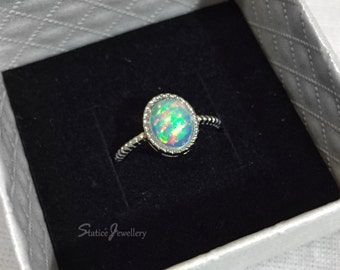 simple opal ring etsy