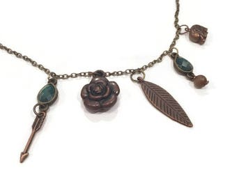 Bronze Charm Necklace, Charm Necklace, Bronze Necklace, Bronze Necklace Chain, Charm Necklace Bronze, Brown Charm Necklace, Floral Necklace