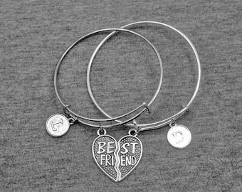 Best Friend Bracelet -Friendship Bangle -BFF Bracelet -Initial Bracelet -Your Choice of A to Z